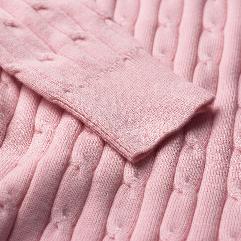 Rundhalspullover aus Stretch-Baumwolle mit Zopfmuster