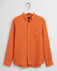 Stückgefärbtes Regular Fit Leinen Hemd