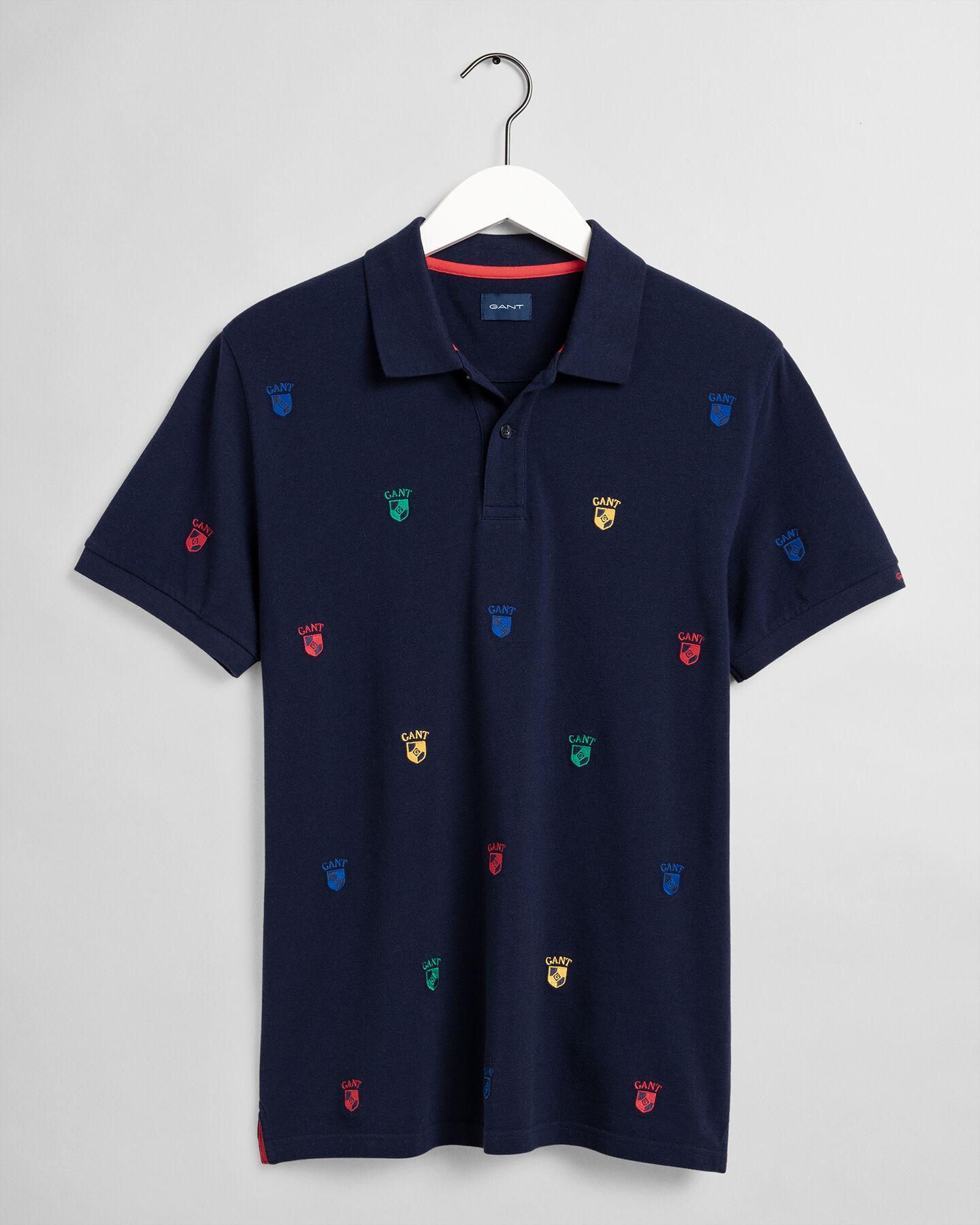 Flag Crest Piqué Poloshirt mit Stickerei