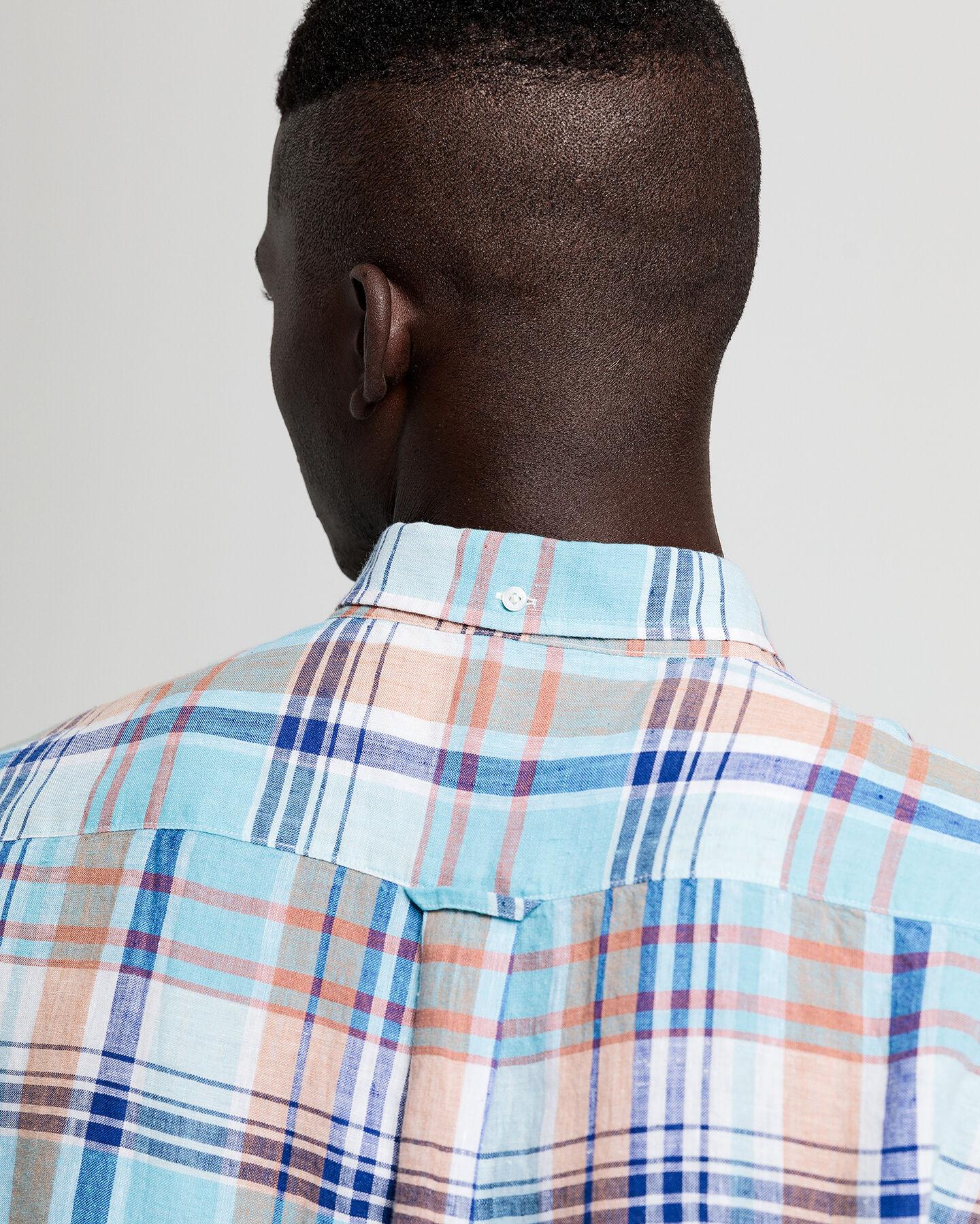 Regular Fit Madras Leinen Hemd
