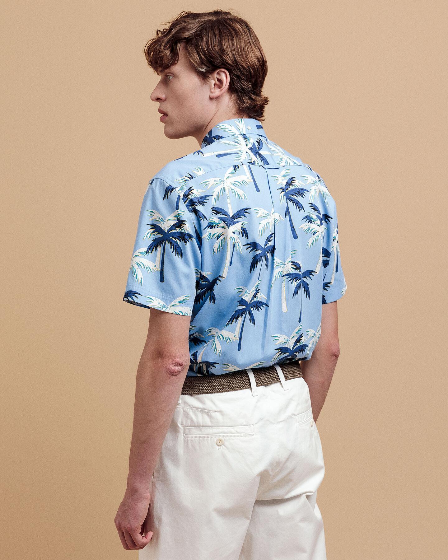 Palm Print Regular Fit Broadcloth Kurzarm Hemd