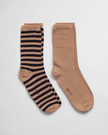 2er-Pack Gerippte Socken Einfarbig & Gestreift