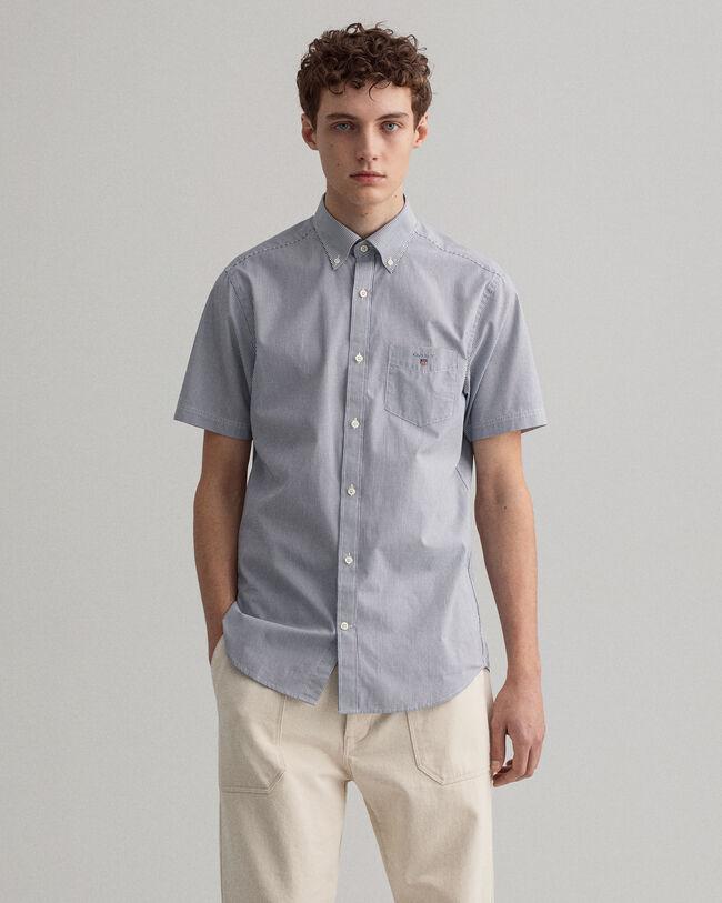 Regular Fit Broadcloth Kurzarm Hemd mit Banker-Streifen