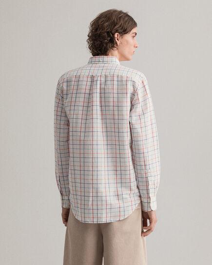 Regular Fit Baumwoll Leinen Hemd mit Karomuster