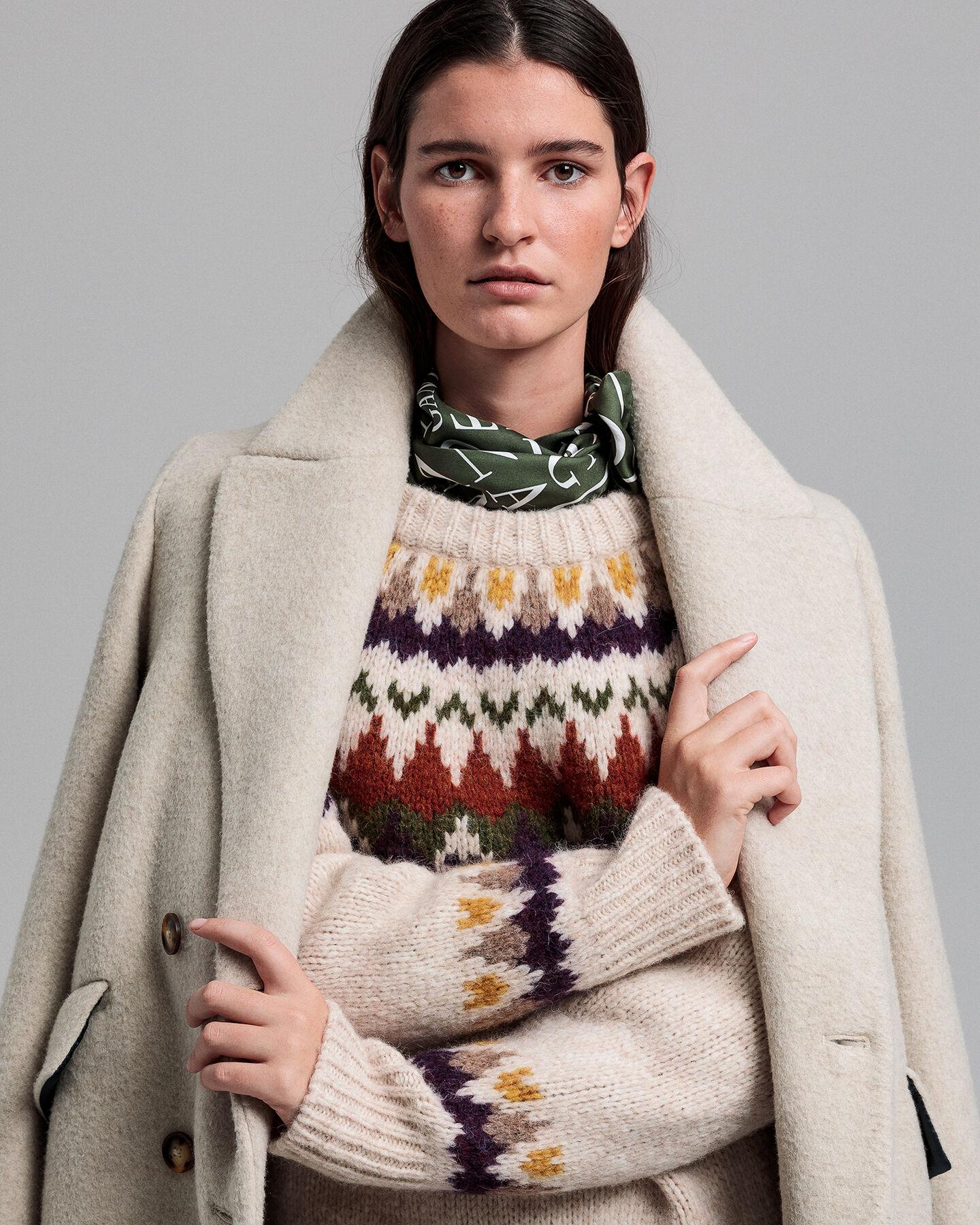 Winter Rundhalspullover mit Fair-Isle-Muster