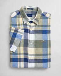 Regular Fit Madras Leinen Kurzarm Hemd