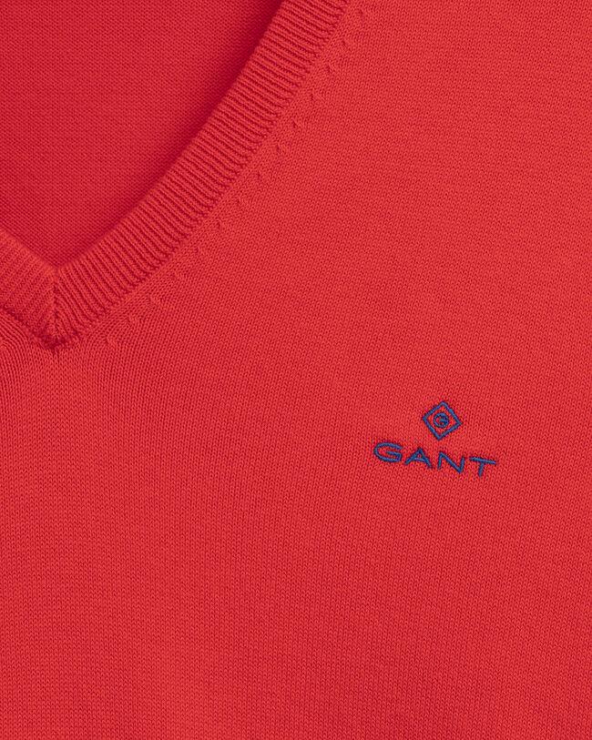 Kontrast V-Neck Pullover aus Stretchbaumwolle