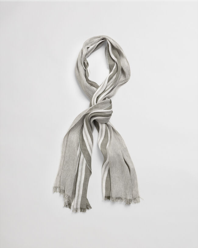 Gestreifter Baumwoll Leinen Schal